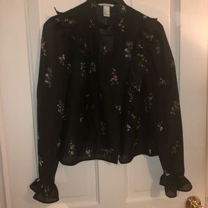 H&M black floral dress shirt